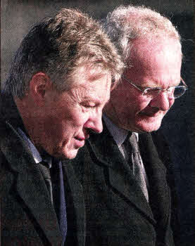 Peter Robinson and Martin McGuinness attending the funeral of John Harrison at Hillhall Presbyterian on Monday ... - john-harrison-funeral3