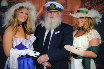 Samuel Rollins dressed as Captain Edward John Smith during his recent cruise to remember those who perished in the Titanic disaster. Samuel is pictured with other passengers who dressed up to mark the 100th anniversary.