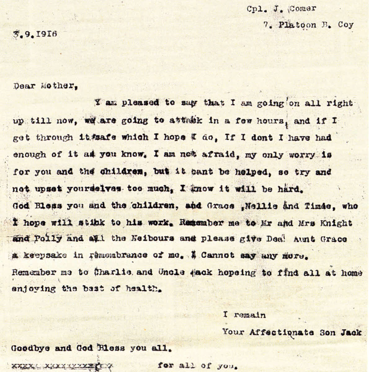 ... War I soldier who wrote this letter to his family died two days later